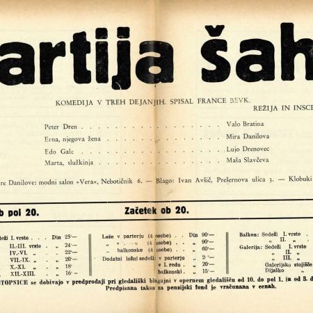 Gledališki list Partija šaha (Ljubljana, 19401)
