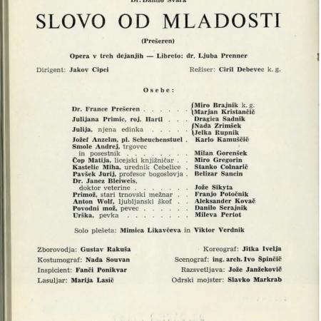 Slovo od mladosti, gledališki list (1956)