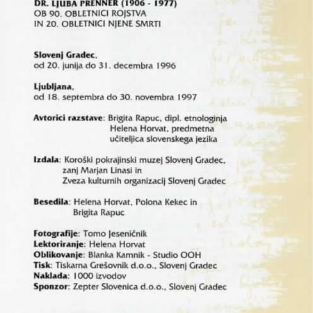 Katalog razstave ob devetdesetletnici rojstva in dvajseti obletnici smrti Prennerjeve (1997)