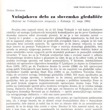 Dušan Moravec: analiza Vošnjakove dramatike v 43. številki Dokumentov Slovenskega gledališkega muzeja (1984)