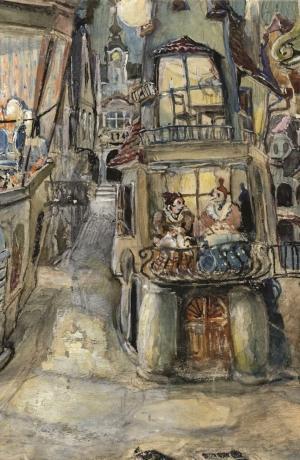 Ivan Vavpotič: scenska slika za predstavo Slavko Grum, Dogodek v mestu Gogi, r. Osip Šest, Narodno gledališče v Ljubljani 1930/31. Vir: Ikonoteka SLOGI – Gledališki muzej.