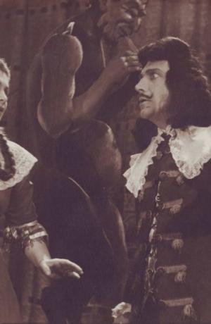 J. B. P. Molière: Šola za žene 1945/46 (1948/49). Ančka Levarjeva kot Agneza in Edvard Gregorin kot Arnolphe. Vir: Ikonoteka SLOGI – Gledališki muzej.