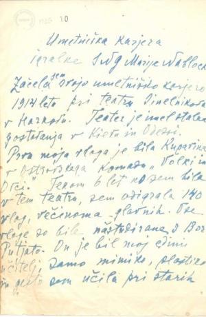 Marija Nablocka - pismo. Vir: Arhivska zbirka SLOGI - Gledališki muzej.