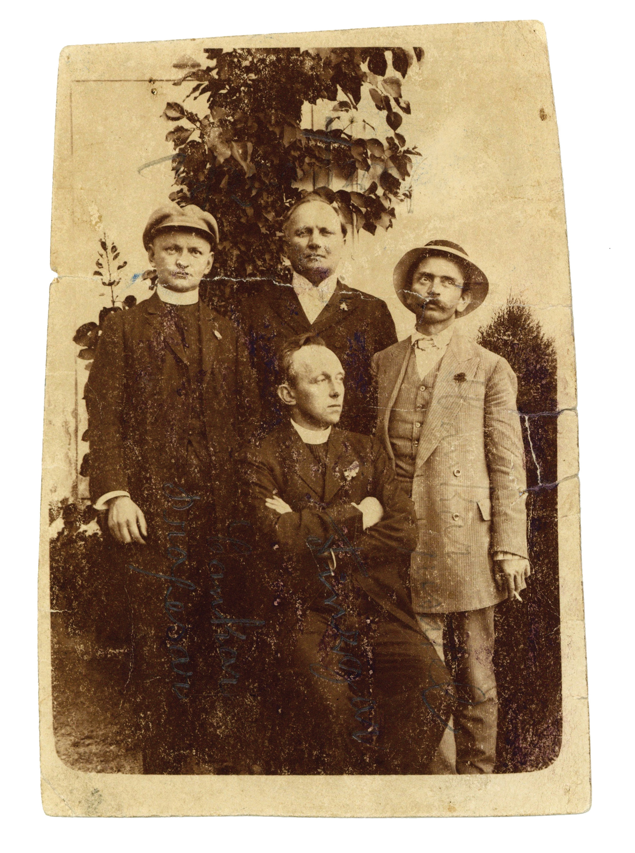 Izidor Cankar, actor Anton Verovšek and Ivan Cankar paying visit to the writer Fran Saleški Finžgar (sitting in the photo) in Sora near Medvode on 11 July, 1911.