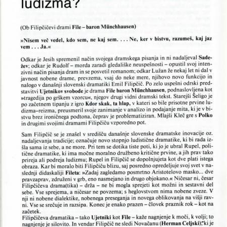 Zadnja stopnja ludizma (Taras Kermauner: Problemi, 22. 1984, št. 9-11, str. 112-122).