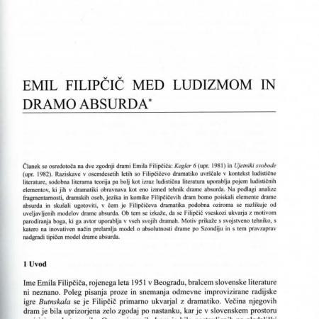 Misel Matevža Rudolfa v obsežnem članku v reviji Jezik in slovstvo (Emil Filipčič med ludizmom in dramo absurda, JiS 53. 2008, št. 5, str. 61).