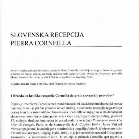 Jezik in slovstvo - Tone Smolej: Slovenska recepciji Pierra Corneilla