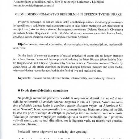 Slavistična revija, 65. 2017, št. 1, str. 53-64: Medmedijsko nomadstvo besedilnih in uprizoritvenih praks