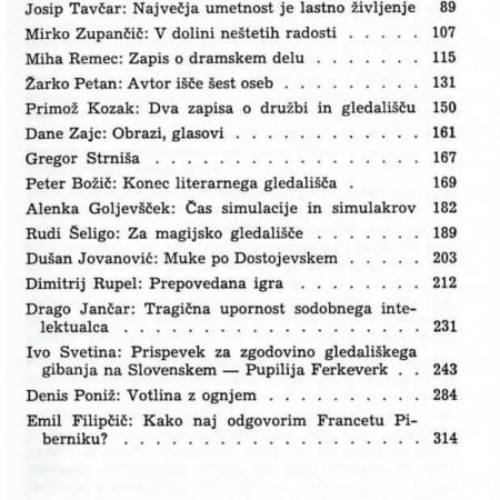 Razmerja v sodobni slovenski dramatiki, 992, Knjižnica MGL, št. 114: Kazalo