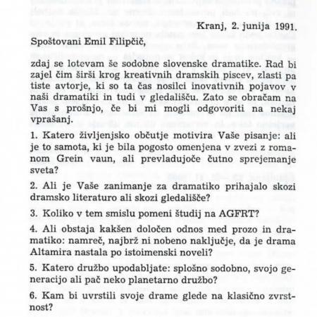 Emil Filipčič: Francetu Piberniku? (Razmerja v sodobni slovenski dramatiki, 992, Knjižnica MGL, št. 114)