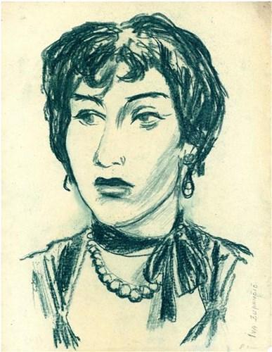 Nikolaj Omersa: Iva Zupančič kot Rona v predstavi Dva bregova, MGL, 1955/56.Vir: Ikonoteka SLOGI – Gledališki muzej.