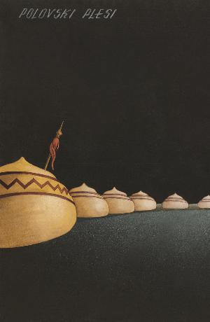 Ernest Franz, scenski osnutek (34 x 48,1 cm, kolaž, tempera) za uprizoritev A. P. Borodin: Knez Igor (režiser Peter Golovin, Opera SNG v Ljubljani, 1945/46). Vir: Ikonoteka SLOGI – Gledališki muzej.