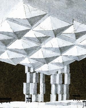 Janez Lenassi, stage design sketch (25 x 35.6 cm, tempera, pencil, marker pen) for the performance Primož Kozak: The Affair (directed by France Jamnik, SNT Drama Ljubljana, 1961/62). Source: SLOGI Iconotheque – Theatre Museum.