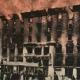 Tržaški Narodni dom v plamenih. Razglednica/kolorirana fotografija, 12,2 x 16 cm, vir: Ikonoteka SLOGI – Gledališki muzej.