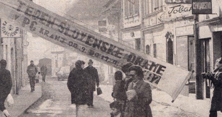 Priprave na festival, 12. Teden slovenske drame. Fotografija: Miško Kranjec, Delo, 10. 2. 1982, arhiv SLOGI – Gledališki muzej.