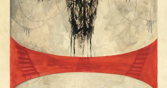 Melita Vovk. Stage design sketch, 35,6 x 48 cm, pencil, ink watercolor. Veno Taufer, Prometheus or The Dark in the Pupil of the Sun, director Dušan Mlakar, scenographer Melita Vovk, Celje City Theatre, opening on September 27, 1973. Source: SLOGI Iconotheque – Theatre Museum.