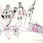 Melita Vovk. Scenski osnutek, 29,5 x 41,5 cm, flomaster, tuš. Eugène Labiche, Gospod Evstahij iz Šiške, režiser Miran Herzog, scenografa Melita Vovk in Milan Butina, kostumografki Melita Vovk in Darja Vidic, Mestno gledališče ljubljansko, premiera 15. 10. 1970. Vir: Ikonoteka SLOGI – Gledališki muzej.