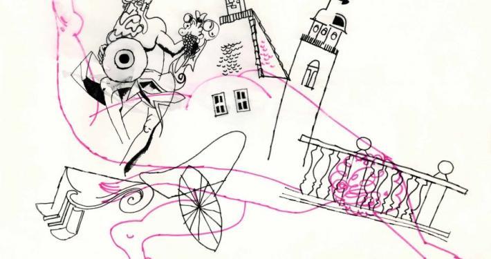 Melita Vovk. Stage design sketch, 29,5 x 41,5 cm, marker pen, ink. Eugène Labiche, Mister Eustachius of Šiška (Célimare le bienaimé), director Miran Herzog, scenographers Melita Vovk and Milan Butina, costume-designers Melita Vovk and Darja Vidic, Ljubljana City Theatre, opening on October 15, 1970. Source: SLOGI Iconotheque – Theatre Museum.